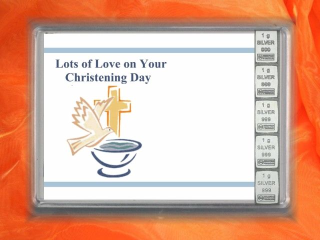 """5 x 1 g Silver """" Lots of Love on your Christening Day"""" with pigeon and font"""