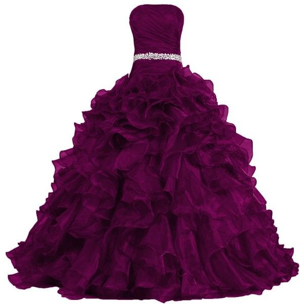 ANTS Women's Pretty Ball Gown Quinceanera Dress Ruffle Prom Dresses (€130) ❤ liked on Polyvore featuring dresses, gowns, prom gowns, quinceanera dresses, flutter-sleeve dress, quinceanera gowns and purple dress