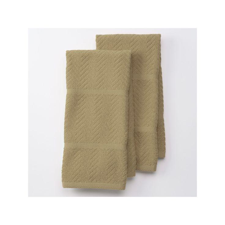 Cuisinart Chevron Kitchen Towel 2-pk., Beig/Green (Beig/Khaki)