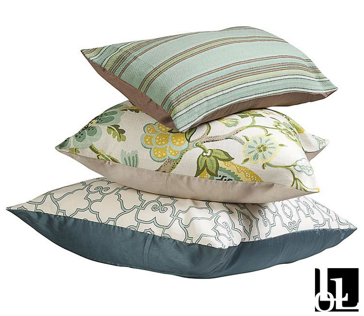 Heirloom, St Thomas and Green Stripe Duck Egg Scatter Cushions at Loads of Living.