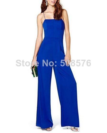 New Fashion Ladies' Sexy blue backless Wide leg pants Jumpsuits Spaghetti Strap hot pants elegant causal slim brand design