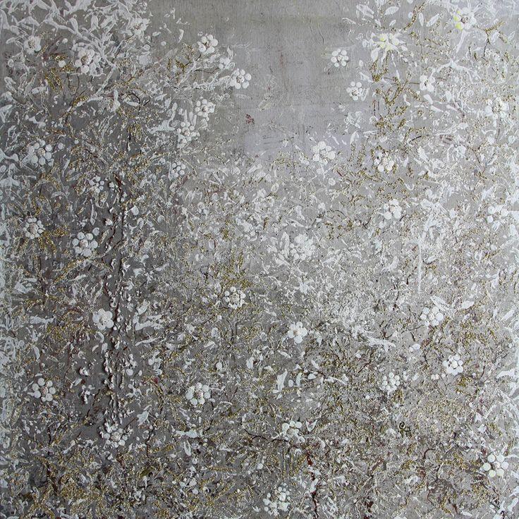 """Jetzt kommt ein kleiner Kälteschock ... """"Nachtfrost"""" im April 2017 Acryl auf Leinwand 50 x 50 cm"""