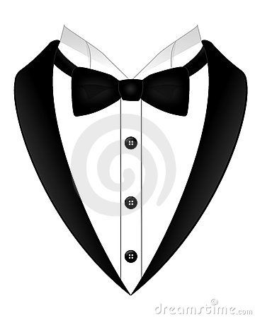 An Illustration Of A Black Bow Tie White Shirt And Tuxedo