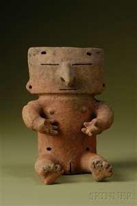 PRE-COLUMBIAN POTTERY FIGURE, ECUADOR, QUIMBAYA RETABLO, C. 300-900 AD