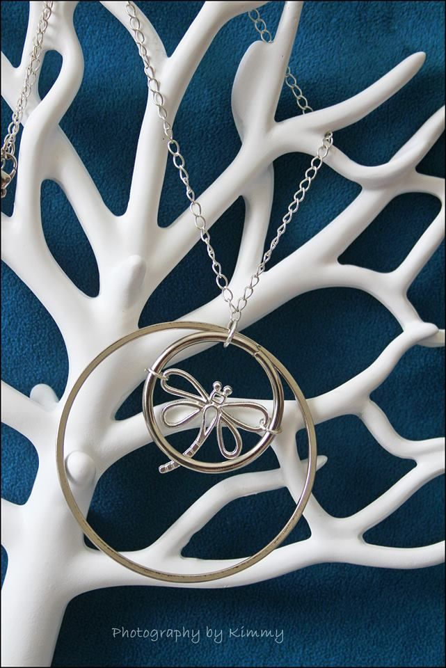 Silver rings and dragonfly necklace pendant