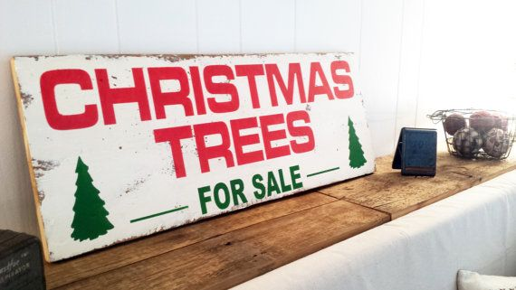 18.5 x 48  Christmas Trees For Sale Wall Decor by ThePinkToolBox