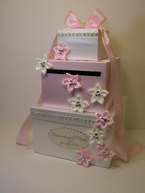 White and Light pink Wedding  Card Box Gift Card Box Money Box Holder-Customize your color on Etsy, $115.00