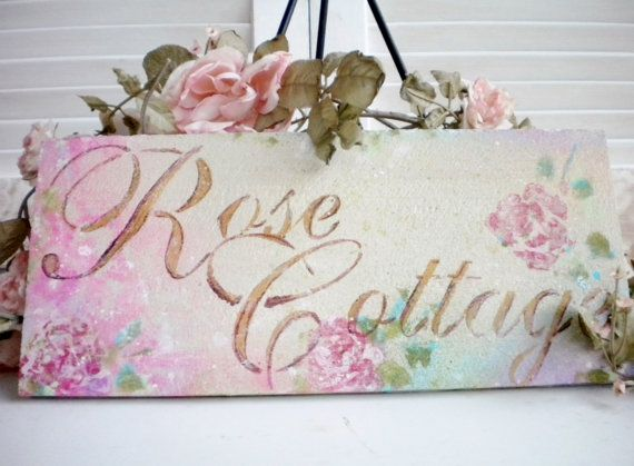 sale beautiful wall decor wood shabby chic sign roses hand painted sign rose cottage treasury. Black Bedroom Furniture Sets. Home Design Ideas