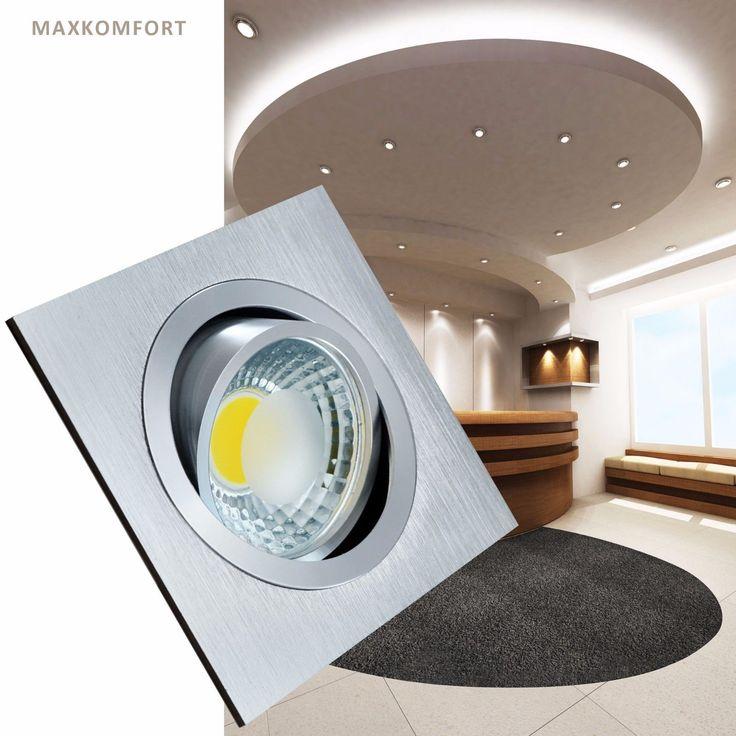 LED Einbaustrahler Einbauspot Deckenlampe Einbaleuchte Lampe Spot Alu 5W eckig   eBay