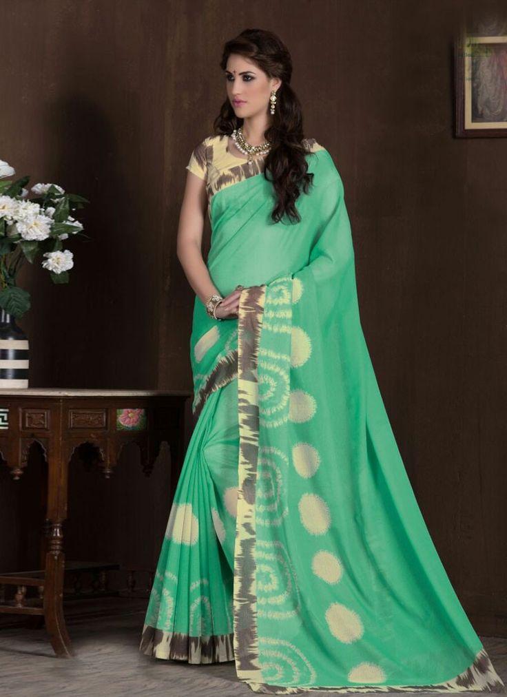 buy saree online Sea Green Colour Silk Printed Causal Wear Saree Buy Saree online - Buy Sarees online