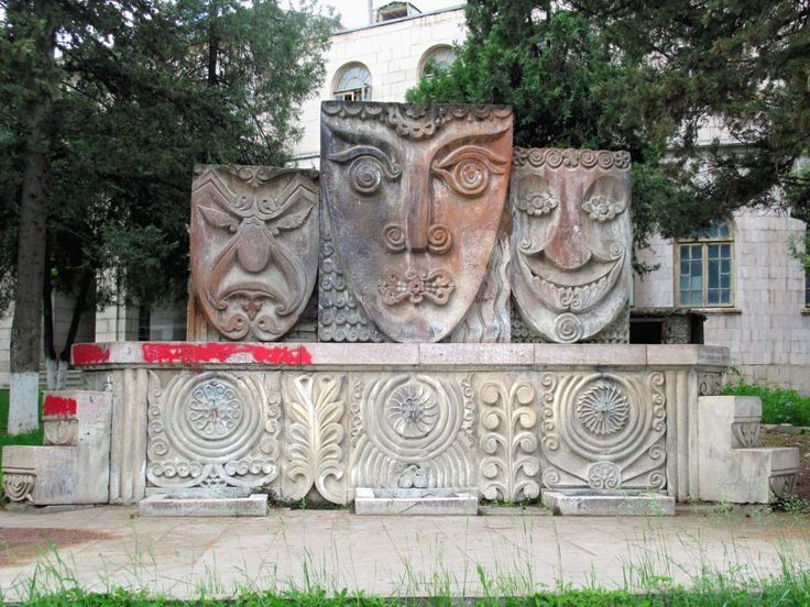 "The ""Three Sources"" sculpture outside the State Drama Theater in Stepanakert, Republic of Nagorno Karabakh, depicts sadness, dreaminess, and happiness."
