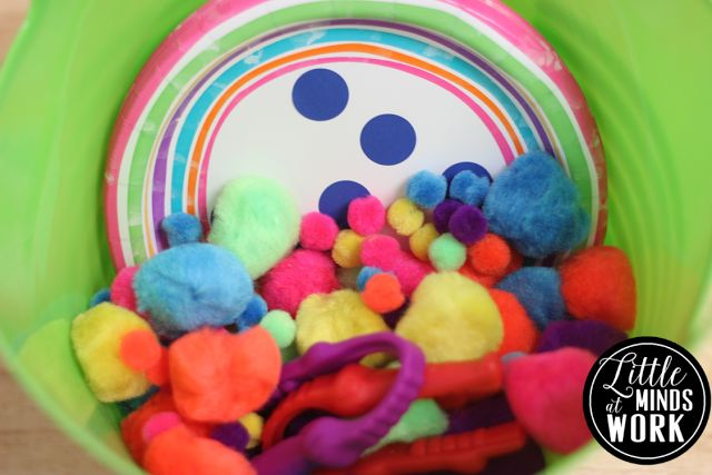 Math - Counting to 10 - BOY - Poms, Tweezers, Paper Plates with Subitizing Dots