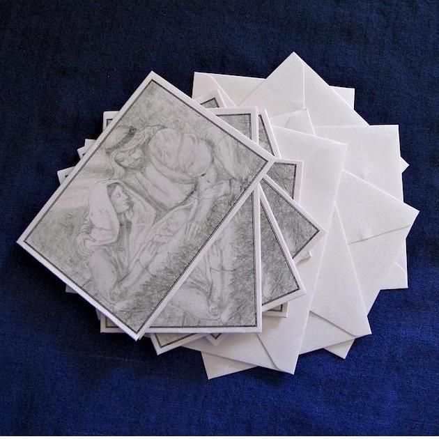 $5.00 Six 'Nativity Scene' on White Pearlised Cards with Matching Envelopes by PaperWorks on Handmade Australia