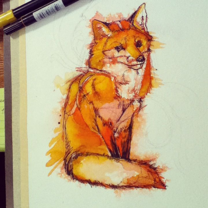 Foxface, a commission from last month. India ink, watercolor, Tombow markers, 8x10.