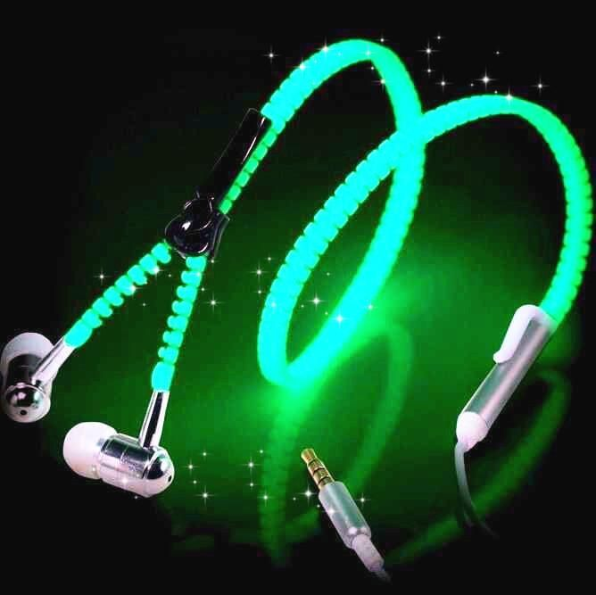 Glow Headphones Metal Zipper Luminous EarphonesFor IPhone Samsung Xiaomi Huawei LG Sony Mobile Phones a5 #SonyMobilePhones