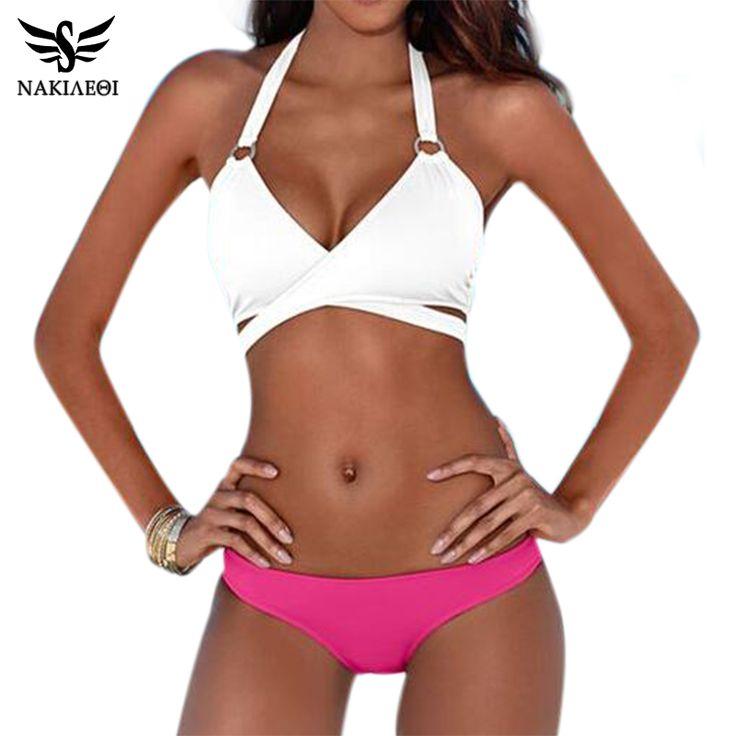 NAKIAEOI 2017 Sexy Criss Cross Bikini Brazilian Bandage Swimsuit Women Push  Up Swimwear Bikini Set Wrap