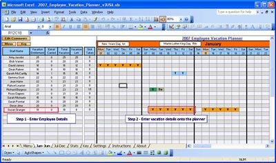 Employee Vacation Planner (Federal Holiday Dates included) Jan 2007 - Dec 2007  (v3usa) | Software | Business | Other