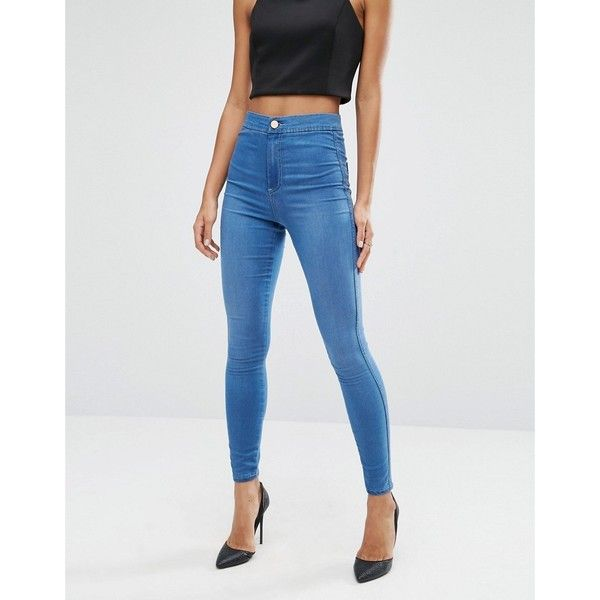 ASOS Rivington High Waist Denim Jeggings in Teddy Mid Wash Blue (121.835 COP) ❤ liked on Polyvore featuring pants, leggings, blue, high-rise leggings, denim leggings, high rise jeggings, denim jeggings and high waisted skinny pants