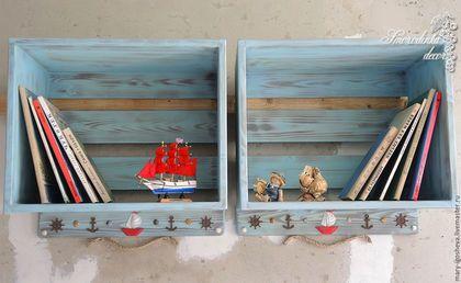 Купить или заказать Полки для книг и игрушек Мечты о море в интернет-магазине на Ярмарке Мастеров. Настенные полки для книг и игрушек Мечты о море выполнены из массива сосны, брашированы, покрыты безопасным акрилом. Декор в виде штурвалов, якорей, корабликов и натуральных морских ракушек. Станут прекрасным украшением детской комнаты в морском стиле, подойдут для книг и игрушек.