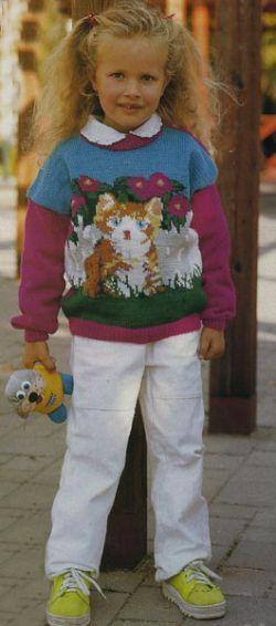 Пуловер с кошечкой