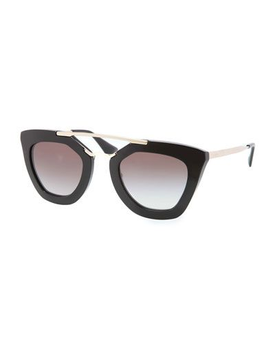 29f6702705 D0UQY Prada Cat-Eye Double-Bridge Sunglasses