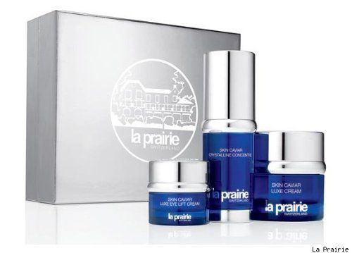 """La Prairie the uplifting luxury of caviar set by La Prairie. $400.00. Use this treatment when your skin needs an immediate uplift in tone, texture and appearance.  Its gleaming """"caviar pearls"""", not only embody the luxurious image of La Prairie, they release a highly concentrated burst of caviar-derived sea energy at the very moment of application.  Your skin is instantly smoothed and firmed, radiantly alive, miraculously transformed."""