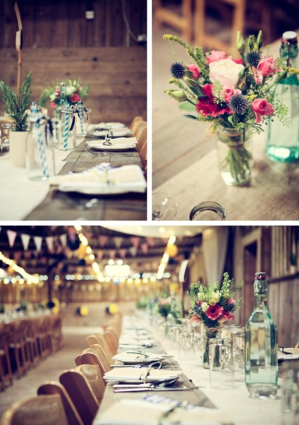 more lovely rustic barn table details and decorations, flowers in jam jars tied with jute at the fab The Barn At South Milton in the South Hams, Devon. #thebarnatsouthmilton