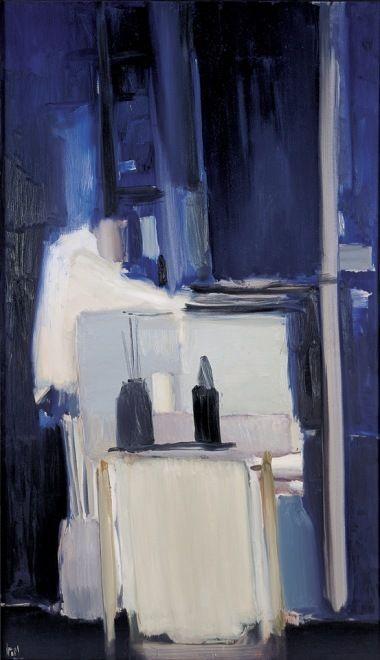 Nicolas de Staël - Artist XXè - Abstract Art - Coin d'Atelier Fond Bleu 1955