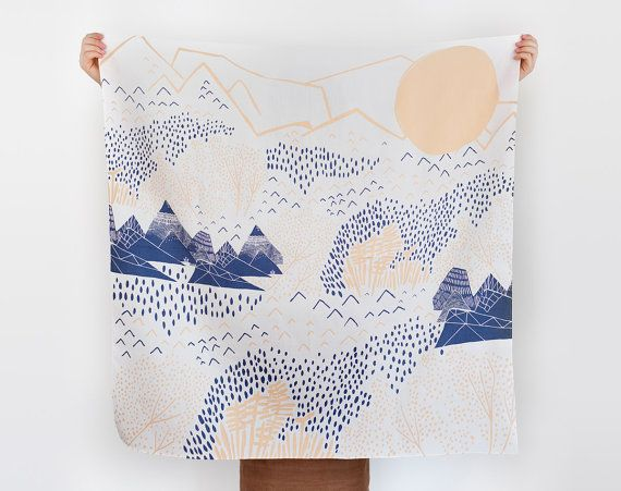 Mountain Blossom furoshiki. Japanese eco wrapping textile/scarf, handmade in Japan on Etsy, £29.62
