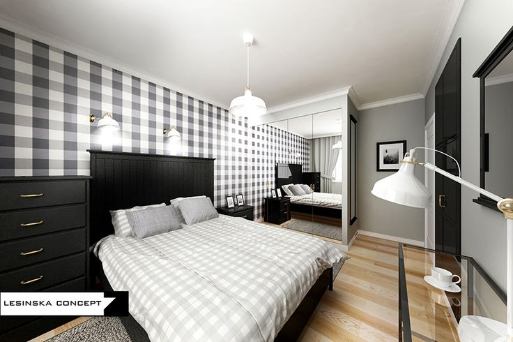GRAPHIC BEDROOM WITH GRAY, WHITE AND BLACK