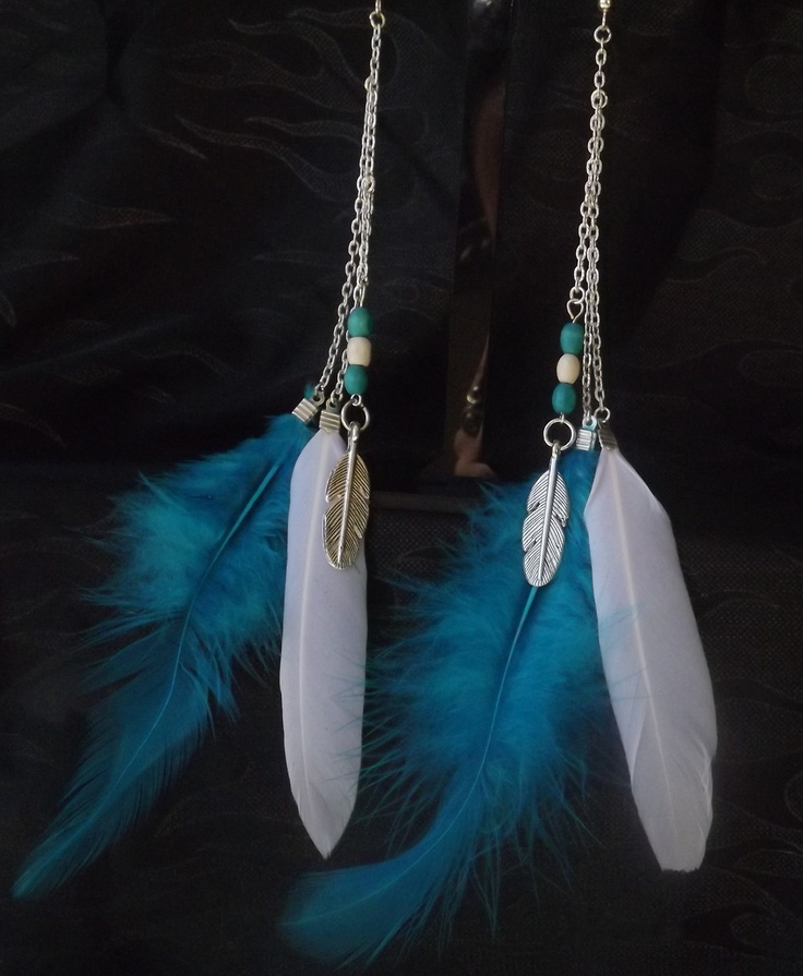 Tribal inspired feather earrings @ Costume Jewellery by Trixie on facebook
