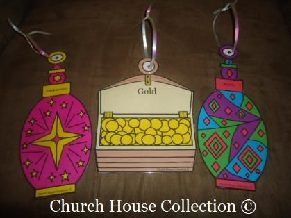 Gold, Frankincense, Myrrh Ornaments. Free printable template for the kids to color and cut out. Just laminate and punch hole in top and run some ribbon through. Hang on tree.