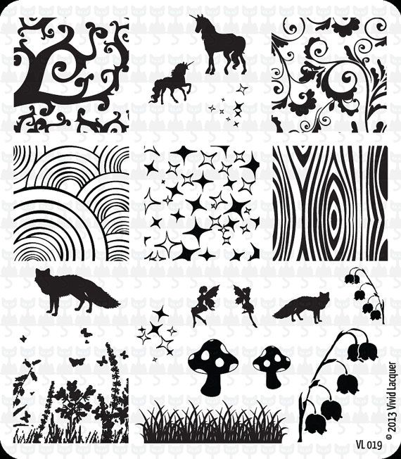 Nail Art Stamping Plate VL 019 by VividLacquer on Etsy, $8.00