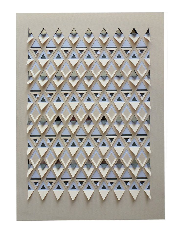 A die cut and hand-folded geometric papercut featuring a cut and folded triangle pattern, which creates a 3-dimensional textured surface. The Piece is made of 4 (four) layers of paper, a top pale peach/cream sheet, a white sheet, a metallic pewter grey sheet with slight shimmer, and a metallic mirror silver sheet. Each layer has different sections of the pattern cut and folded, which create the overall pattern together.