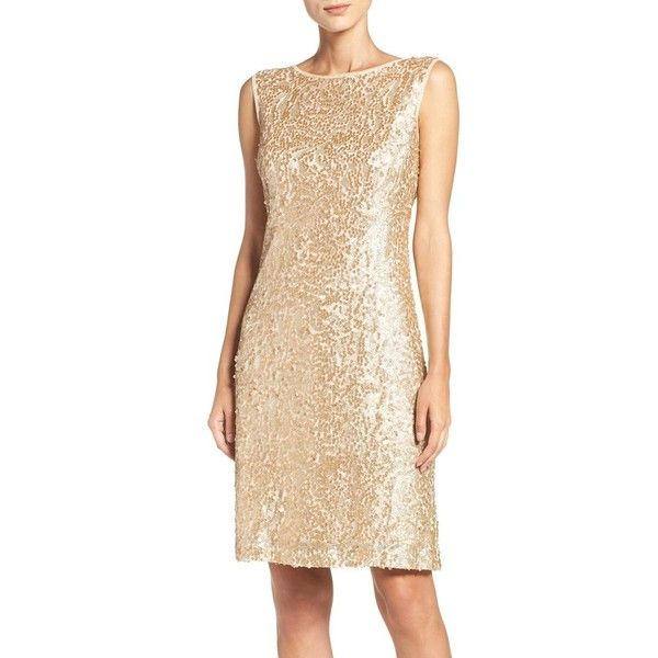 Women's Donna Ricco Sequin Mesh Dress ($98) ❤ liked on Polyvore featuring dresses, gold, beige sparkly dress, beige cocktail dress, donna ricco dresses, mesh cocktail dress and sequin cocktail dresses