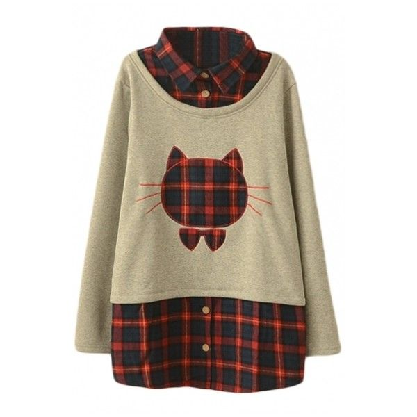 Cat Embroidery Plaid Detail Lapel False Two-Piece Sweatshirt ($26) ❤ liked on Polyvore featuring tops, hoodies, sweatshirts, cat sweatshirt, cat hoodies, brown hoodie, cat hoodie and pullover hooded sweatshirt