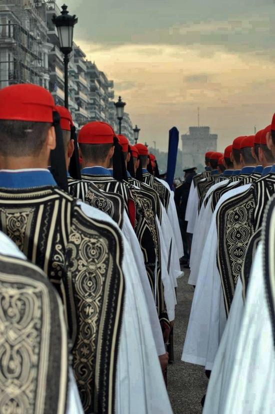 Evzones in Thessaloniki. (Guards in Greece)