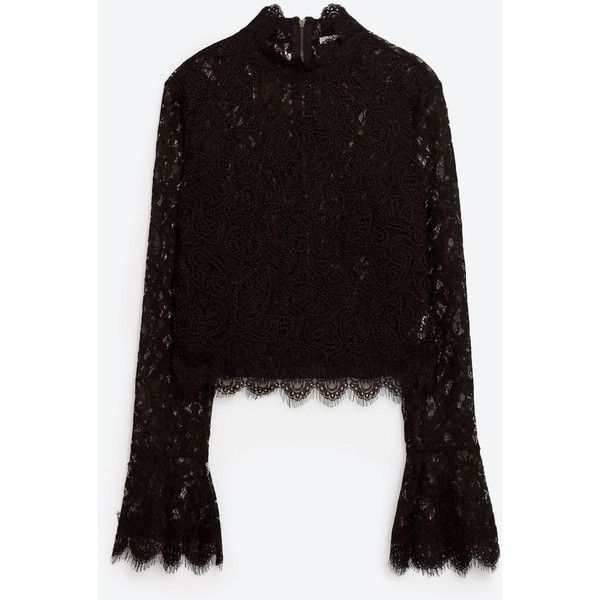 КРУЖЕВНАЯ ФУТБОЛКА С ВЫШИВКОЙ - ФУТБОЛКИ-TRF | ZARA Российская... (445 SEK) ❤ liked on Polyvore featuring embroidery top, lace top, lacy tops, embroidered top and embroidery lace top