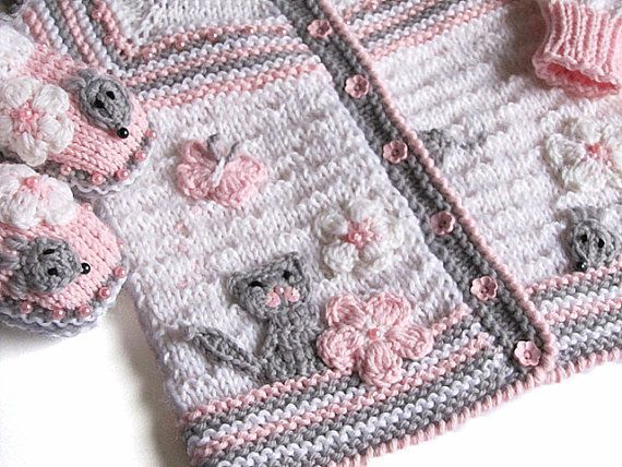 """Knitted+Baby+j+acket+Funny+Mouses+/+knit+baby+girls+by+MiaPiccina,+$40.00 [   """"Items similar to Knitted Baby j acket \""""Funny Mouses\"""" / knit baby girls jacket , hand knit newborn jacket on Etsy"""",   """"hand knit baby cardi, pink w gray cat"""" ] #<br/> # #Baby #Girl #Jackets,<br/> # #Knitted #Baby #Booties,<br/> # #Baby #Knitting,<br/> # #Girls #Shoes,<br/> # #Baby #Knits,<br/> # #Baby #Girls,<br/> # #Mice,<br/> # #Ladybug,<br/> # #Gray #Cats<br/>"""