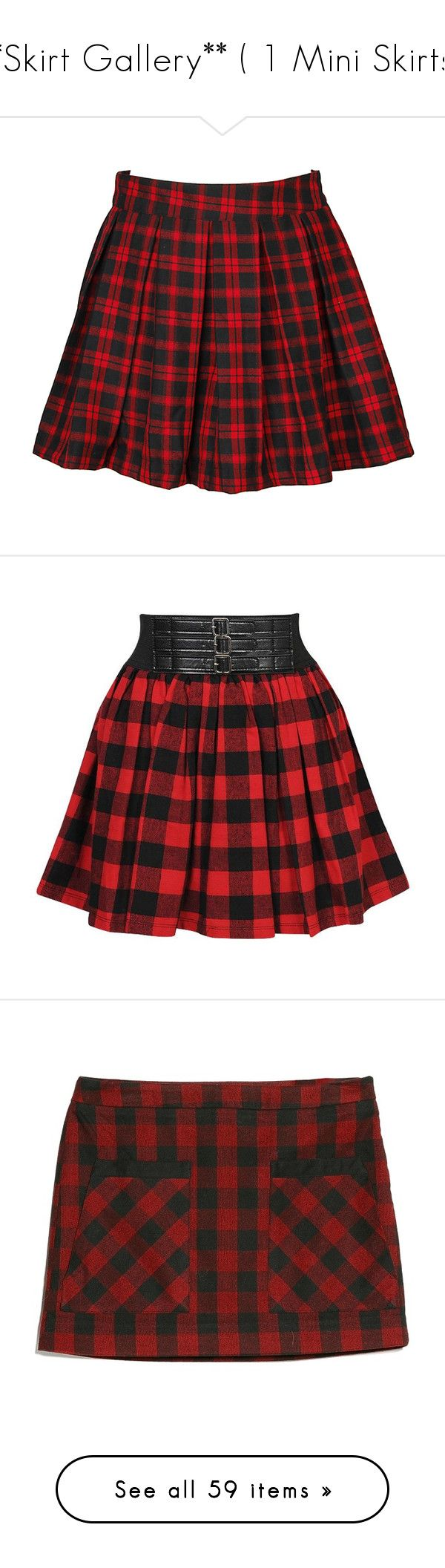 """**Skirt Gallery** ( 1 Mini Skirts.)"" by lillian-pandola ❤ liked on Polyvore featuring skirts, bottoms, saias, tartan skirt, plaid pleated skirt, red tartan plaid skirt, tartan plaid pleated skirt, red skirt, mini skirts and red"