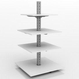 Τετράγωνη Γόνδολα Ράφια Μελαμίνη Δείτε το :: http://goo.gl/FOouau  Τετράγωνη γόνδολα καταστήματος με μία μεταλλική διάτρητη κολώνα,βάθρο και ράφια από μελαμίνη που ρυθμίζονται ανάλογα με τις διαστάσεις των προϊόντων σας.
