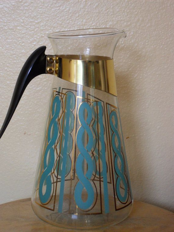Vintage Fred Press Gold Blue Mod Design Glass by thepearshapedtoad, $29.00