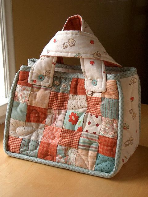 Patchwork Quilted Bag. I could carry my irons in this after making a divider inside..
