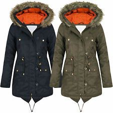 Ladies Parka Coat Hooded Jacket Fish Tail Back for Winter Size 8-16