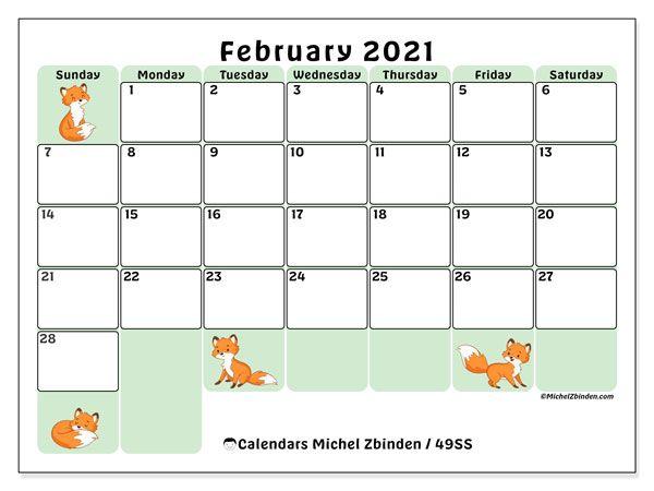 Calendar February 2021   49SS in 2020 | Calendar, Free printable