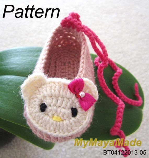 Crochet Pattern  Hello Kitty Crochet Baby Booties by MyMayaMade, $5.99