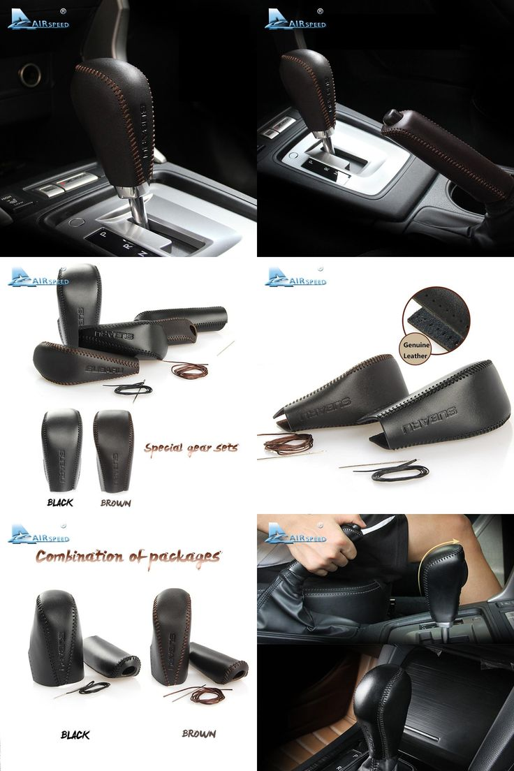 [Visit to Buy] Airspeed Geniune Leather Gear Shift Knob cover brake cover for Subaru XV 2012+ Forester 2013+ Outback 2015+car-styling #Advertisement