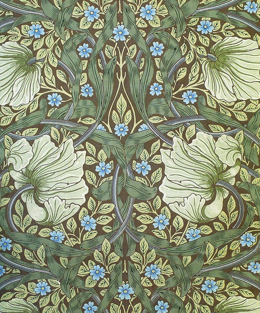 'Pimpernel' wallpaper design by William Morris, produced by Morris & Co in 1876.