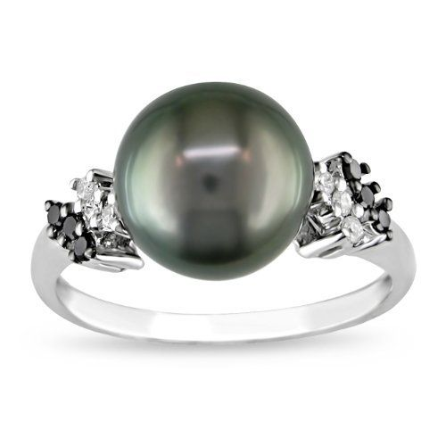 10k White Gold Black Tahitian Cultured Pearl with Diamond-Accent Ring (1/8 cttw, H-I Color, I2-I3 Clarity) Amazon Curated Collection. $248.00. All our diamond suppliers certify that to their best knowledge their diamonds are not conflict diamonds.. Black 9.0-9.5mm Tahitian pearl ring. Made in China