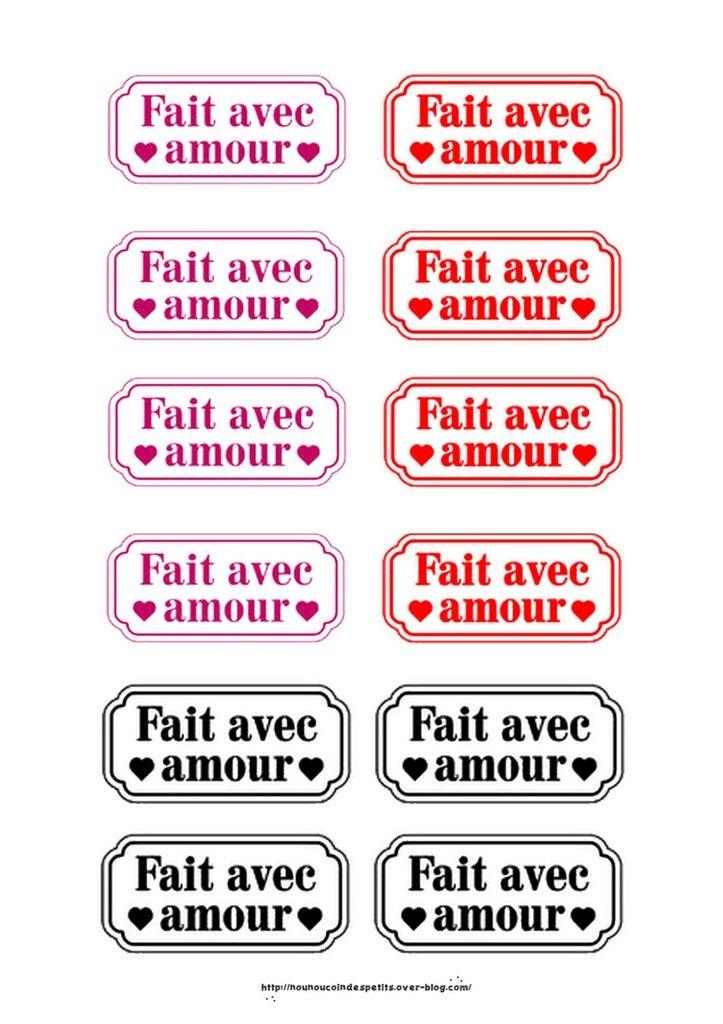 """.. étiquette """" Fait avec Amour """""""